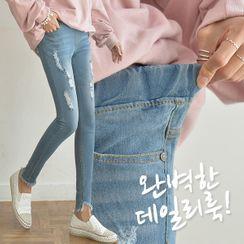 Seoul Fashion - Band-Waist Ripped Skinny Jeans