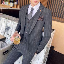 Blueforce - Set: Striped Blazer + Vest + Dress Pants