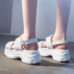 Deree - 牛仔帶厚底涼鞋