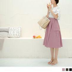 OrangeBear - Elastic-Waist Side-Pocket Midi Skirt