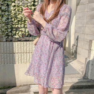 Avox - Vestido de gasa de manga larga con estampado de flores