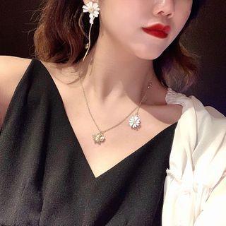 Ticoo - Asymmetrical Flower Pendant Necklace / Drop Earring