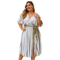 Abuk - Plus Size Short-Sleeve Tie-Waist Slit Printed Shift Dress