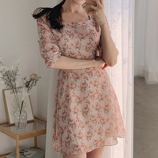 Leoom - 碎花短袖A字連衣裙