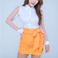 clubber - Wrap-Front Mini Pencil Skirt