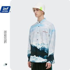Newin - 冰山印花宽松长袖衬衫
