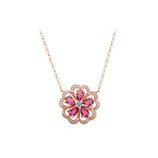 BELEC - Fashion and Elegant Plated Rose Gold Flower Rose Red Cubic Zirconia Necklace
