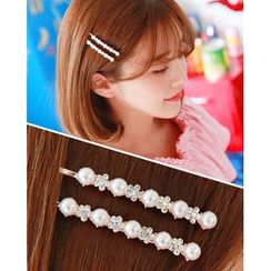 Miss21 Korea - Rhinestone Faux-Pearl Hair Pin