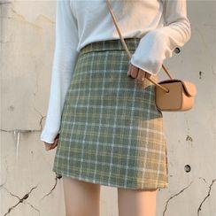 Shinsei - Plaid Mini Pencil Skirt