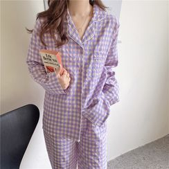 Miss Bearie - Set: Long-Sleeve Check Pajama Top + Pants