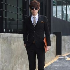 Tsuka - Set: Fleece-Lined Plain Blazer + Dress Pants