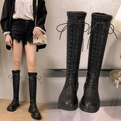 Anjay - Faux Leather Lace-Up Tall Boots