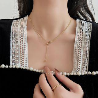 Taimi - 饰珠Y形吊坠多层项链