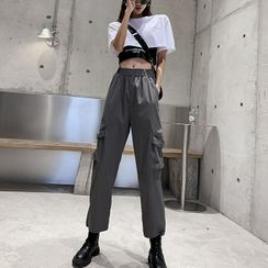 Robynn - Cargo Jogger Pants / Short-Sleeve Cropped T-Shirt / Cropped Tank Top / Set