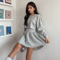 LIPHOP - Set: Cropped Sweatshirt + Frilled-Hem Skirt