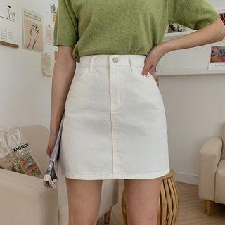 MERONGSHOP - Cotton A-Line Miniskirt