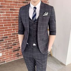 Hawoo - Suit Set: Elbow-Sleeve Plaid Blazer + Vest + Dress Pants