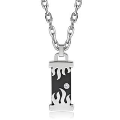 Kenny & co. - Fire Pillar Shaped Ip Black Steel Pendant with Crystal Necklace