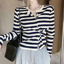 Emmeray - Long-Sleeve Striped T-Shirt / Harem Sweatpants