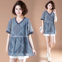 RAIN DEER - Short-Sleeve Pattern Tunic