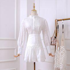 Meine - Set: Lace Blouse + A-line Skirt