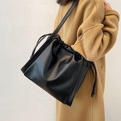 BAGUS - Faux Leather Drawstring Crossbody Bag