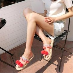 MONOBARBI - Pompom Tassel Espadrille Sandals