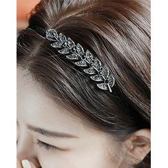 Miss21 Korea - Rhinestone Leaf-Motif Hair Band