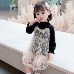 Ohori - Kids Set: Long-Sleeve T-Shirt + Spaghetti Strap Mesh Dress