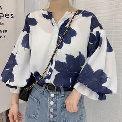 Kamakura - 3/4-Sleeve Floral Print Chiffon Blouse