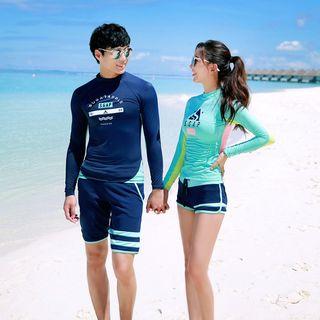 Salanghae - Couple Matching Printed Rash Guard / Swim Shorts / Set