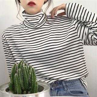 Dute - 條紋高領長袖T恤