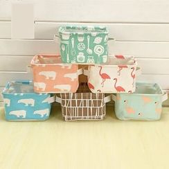 Lindo Bags - Printed Fabric Desk Organizer Basket