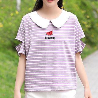 YICON - 短袖飾領條紋上衣