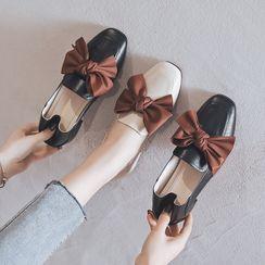Warom - 粗跟蝴蝶結莫卡辛鞋