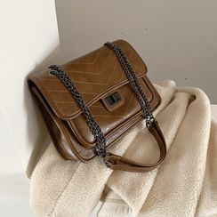 Skyglow - Faux Leather Chain Strap Shoulder Bag