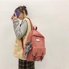 Kaffee - Set: Applique Buckled Backpack + Bag Charm