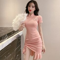Bestcat - Mandarin Collar Ruffle Hem Drawstring Mini Bodycon Dress