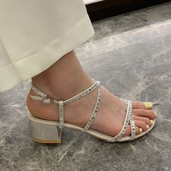 Anran - Rhinestone Ankle-Strap Chunky-Heel Sandals