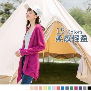 OrangeBear - 柔感輕盈~薄針織開襟長版罩衫外套