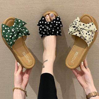 Weiya(ウェイヤ) - Dotted Bow Slide Sandals