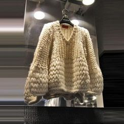 Kaypray - Cable-Knit V-Neck Sweater