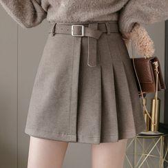 Isaaca(イザーカ) - Asymmetric Pleated Mini A-Line Skirt
