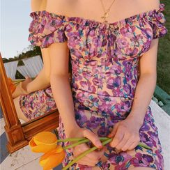 TOHADA - Floral Print Short-Sleeve Off-Shoulder Mini A-Line Dress