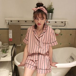 Renara - Pajama Set: Short-Sleeve Shirt + Shorts + Headband