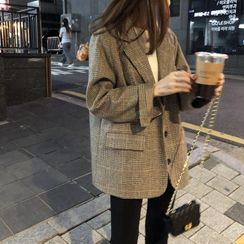 Lewwe - 單排扣格紋西裝外套