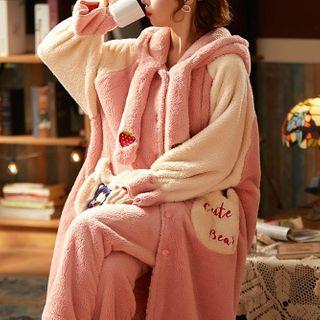 Jeony - Loungewear Set : Coral Fleece Hooded Robe + Pants