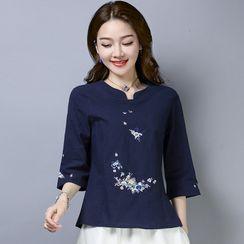Bohomina - Ethnic 3/4-Sleeve Embroidered T-Shirt