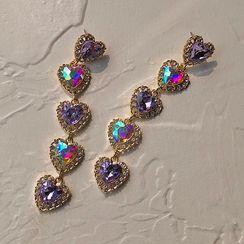 EBIZA - 925 Sterling Rhinestone Heart Drop Earring