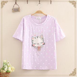 Kawaii Fairyland - Cat Printed Short-Sleeve Round Neck T-Shirt